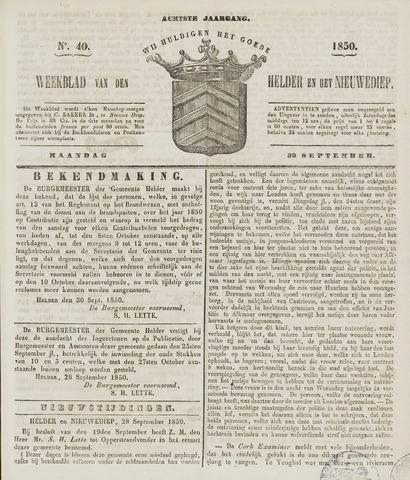 Weekblad van Den Helder en het Nieuwediep 1850-09-30