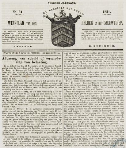 Weekblad van Den Helder en het Nieuwediep 1851-12-15