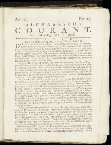 Alkmaarsche Courant 1805-04-08