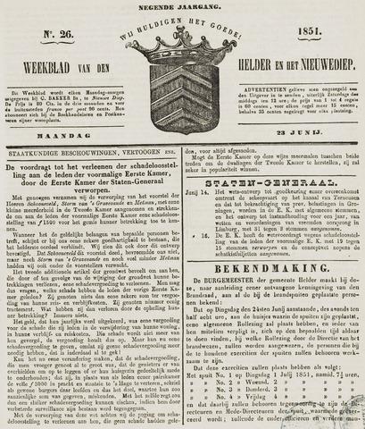 Weekblad van Den Helder en het Nieuwediep 1851-06-23