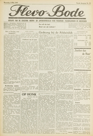 Flevo-bode: nieuwsblad voor Wieringen-Wieringermeer 1949-05-18