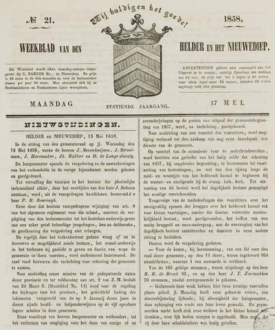 Weekblad van Den Helder en het Nieuwediep 1858-05-17