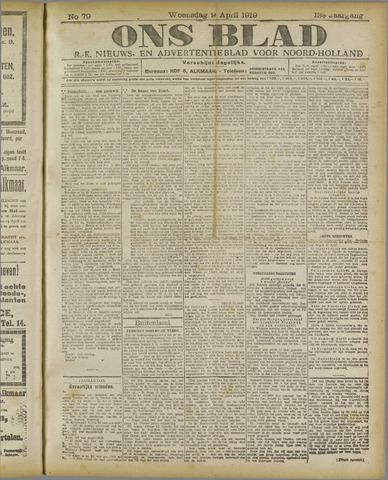 Ons Blad : katholiek nieuwsblad voor N-H 1919-04-09