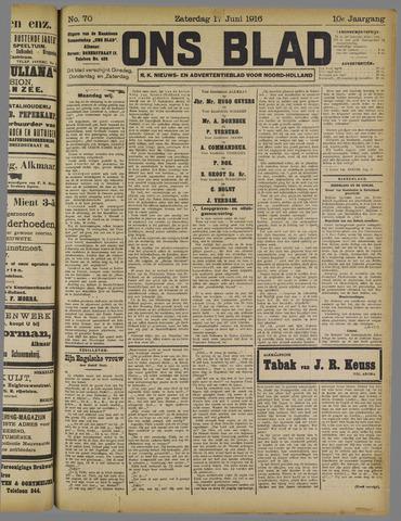 Ons Blad : katholiek nieuwsblad voor N-H 1916-06-17