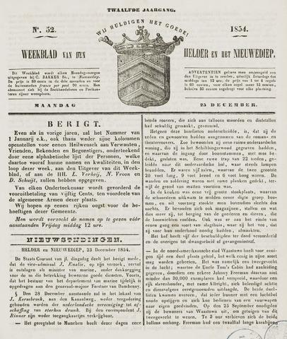 Weekblad van Den Helder en het Nieuwediep 1854-12-25