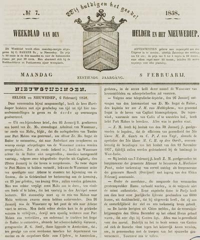 Weekblad van Den Helder en het Nieuwediep 1858-02-08