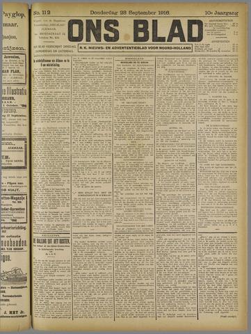 Ons Blad : katholiek nieuwsblad voor N-H 1916-09-28