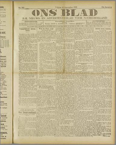 Ons Blad : katholiek nieuwsblad voor N-H 1920-09-10