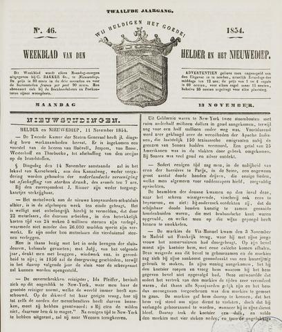 Weekblad van Den Helder en het Nieuwediep 1854-11-13