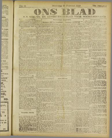 Ons Blad : katholiek nieuwsblad voor N-H 1919-02-10