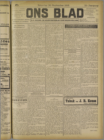 Ons Blad : katholiek nieuwsblad voor N-H 1916-09-30