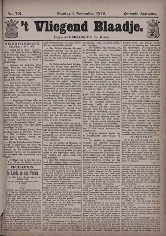 Vliegend blaadje : nieuws- en advertentiebode voor Den Helder 1879-11-04