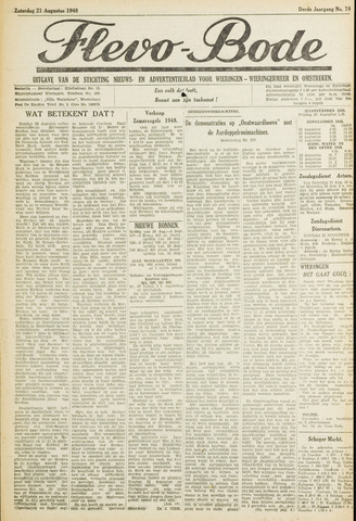 Flevo-bode: nieuwsblad voor Wieringen-Wieringermeer 1948-08-21