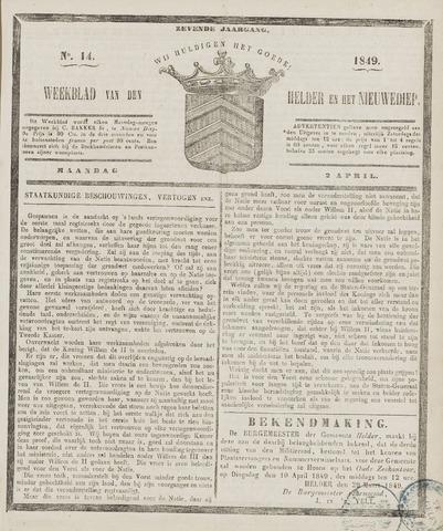 Weekblad van Den Helder en het Nieuwediep 1849-04-02