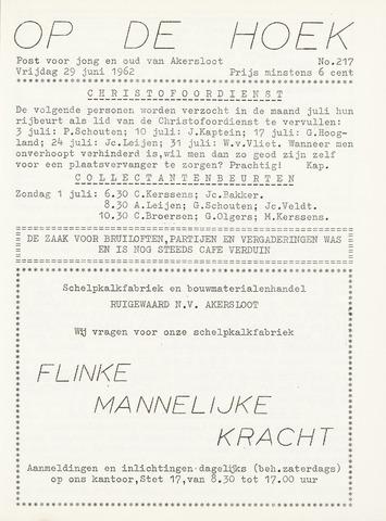 Op De Hoek, weekblad voor Akersloot 1962-06-29