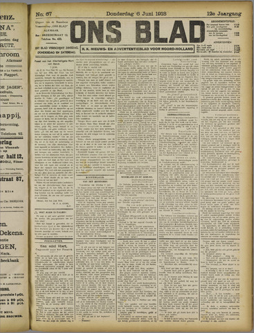 Ons Blad : katholiek nieuwsblad voor N-H 1918-06-06