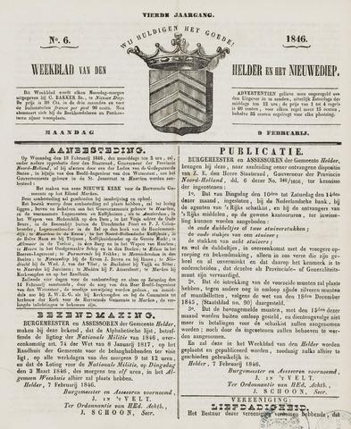 Weekblad van Den Helder en het Nieuwediep 1846-02-09