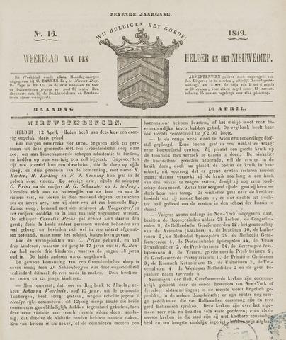 Weekblad van Den Helder en het Nieuwediep 1849-04-16