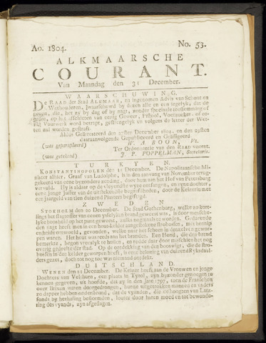 Alkmaarsche Courant 1804-12-31