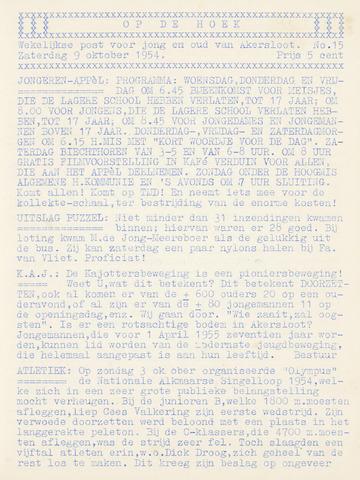 Op De Hoek, weekblad voor Akersloot 1954-10-09