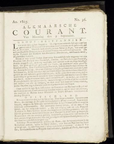 Alkmaarsche Courant 1805-09-09