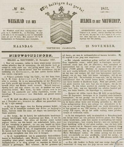 Weekblad van Den Helder en het Nieuwediep 1857-11-23