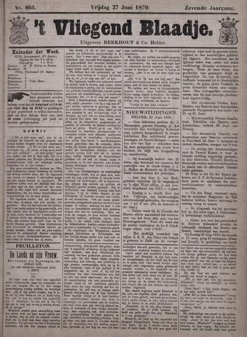Vliegend blaadje : nieuws- en advertentiebode voor Den Helder 1879-06-27