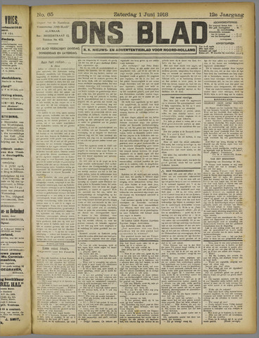 Ons Blad : katholiek nieuwsblad voor N-H 1918-06-01