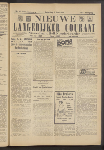 Nieuwe Langedijker Courant 1929-06-08