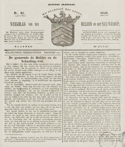 Weekblad van Den Helder en het Nieuwediep 1849-07-30