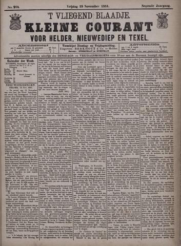 Vliegend blaadje : nieuws- en advertentiebode voor Den Helder 1881-11-18