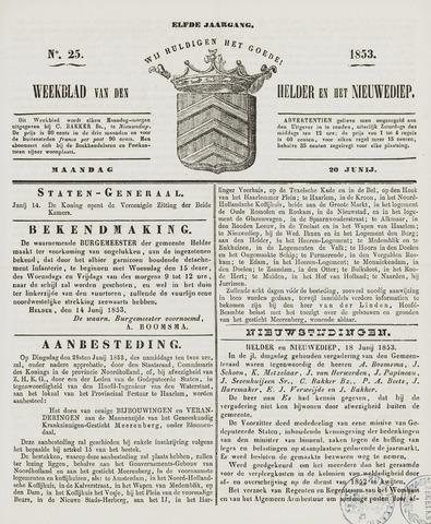 Weekblad van Den Helder en het Nieuwediep 1853-06-20