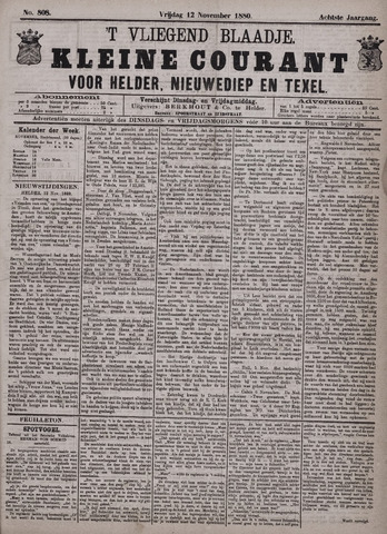 Vliegend blaadje : nieuws- en advertentiebode voor Den Helder 1880-11-12