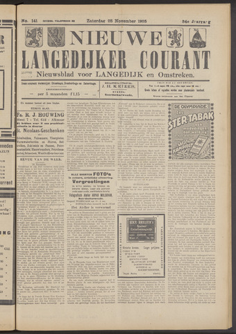 Nieuwe Langedijker Courant 1925-11-28
