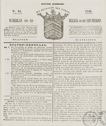 Weekblad van Den Helder en het Nieuwediep 1849-08-20