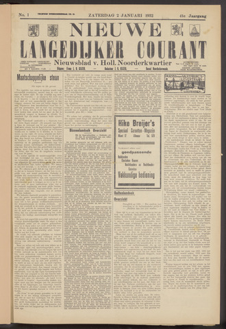 Nieuwe Langedijker Courant 1932-01-02