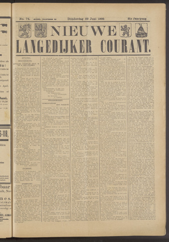 Nieuwe Langedijker Courant 1922-06-29