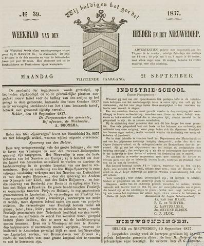 Weekblad van Den Helder en het Nieuwediep 1857-09-21