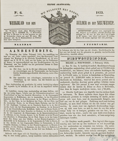 Weekblad van Den Helder en het Nieuwediep 1853-02-07