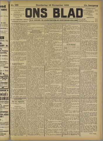 Ons Blad : katholiek nieuwsblad voor N-H 1916-11-16