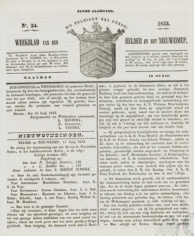Weekblad van Den Helder en het Nieuwediep 1853-06-13