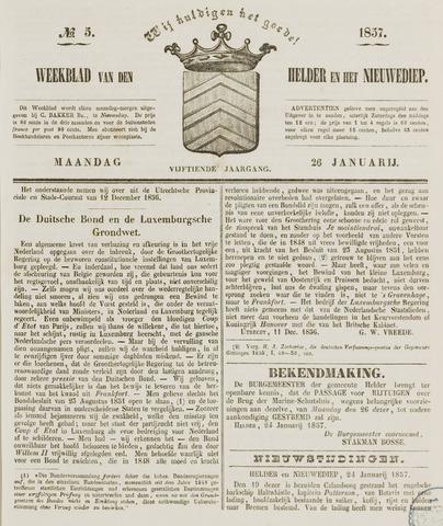 Weekblad van Den Helder en het Nieuwediep 1857-01-26