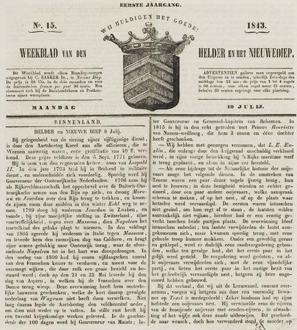 Weekblad van Den Helder en het Nieuwediep 1843-07-10