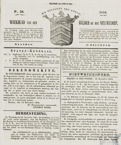 Weekblad van Den Helder en het Nieuwediep 1853-12-12