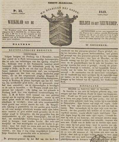 Weekblad van Den Helder en het Nieuwediep 1843-11-27