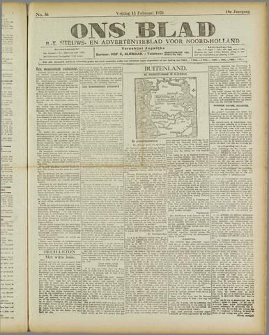 Ons Blad : katholiek nieuwsblad voor N-H 1920-02-13