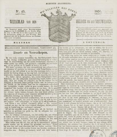 Weekblad van Den Helder en het Nieuwediep 1850-11-04