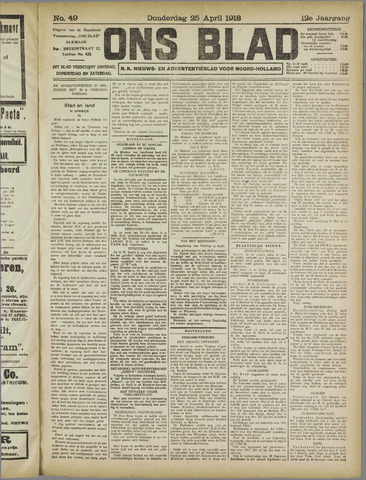Ons Blad : katholiek nieuwsblad voor N-H 1918-04-25