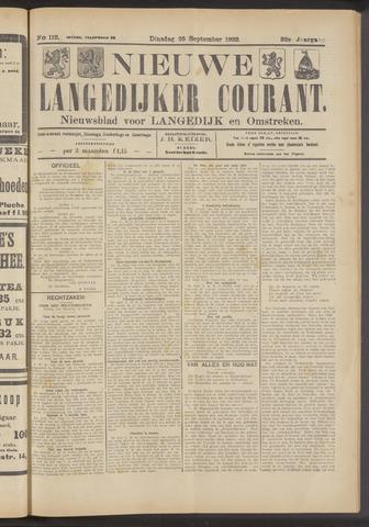 Nieuwe Langedijker Courant 1923-09-25