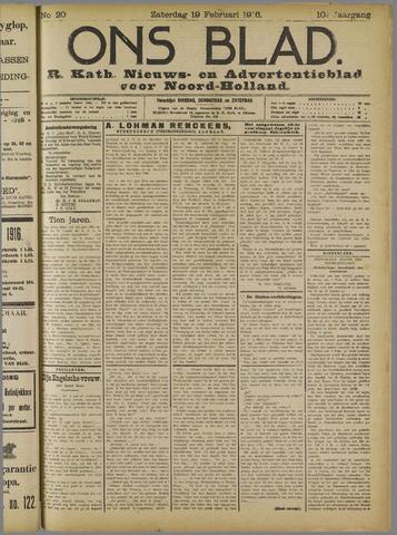 Ons Blad : katholiek nieuwsblad voor N-H 1916-02-19
